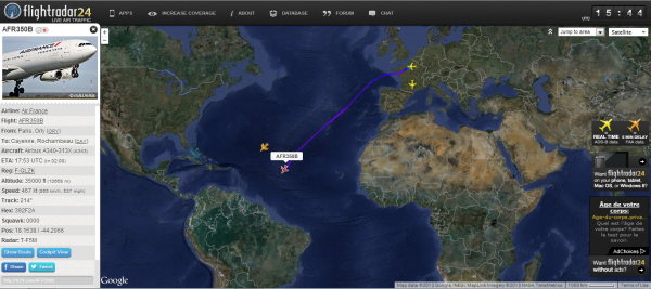 Arrivée prévue d'un Airbus A340