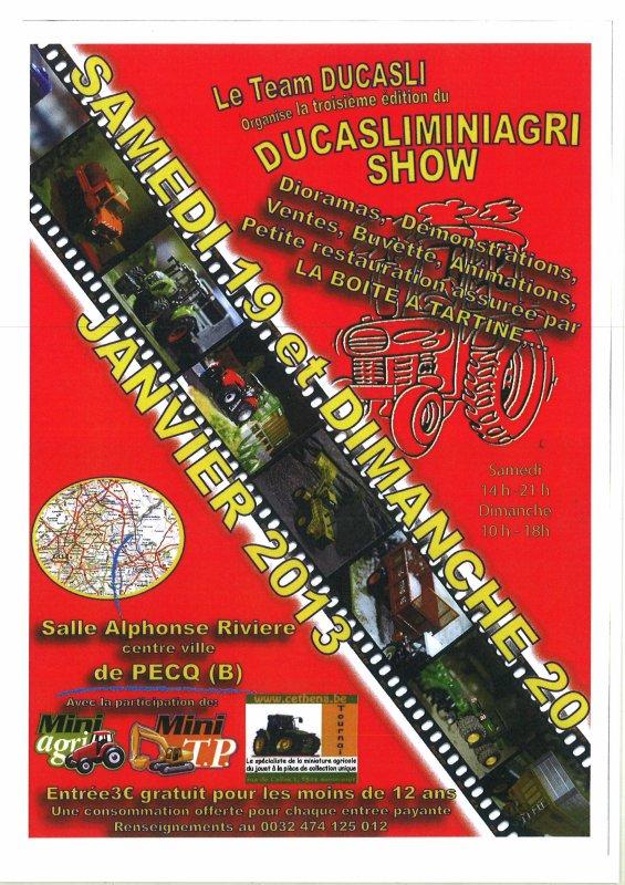 3 ème Ducasliminiagri Show les 19 et 20 janvier 2013 à Pecq