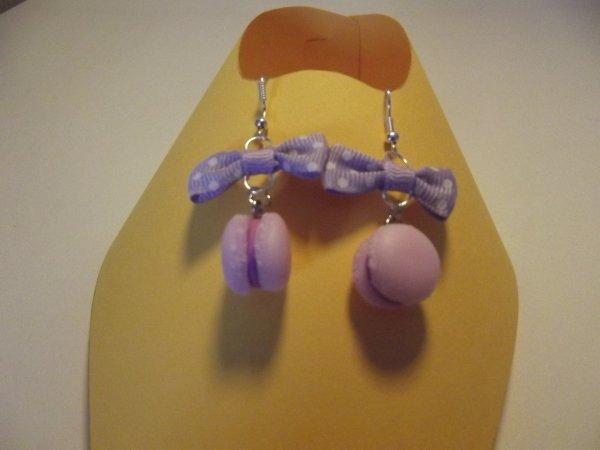 Boucle d'oreille macaron rose.sans noeud (4¤) avec noeud (4.50¤)