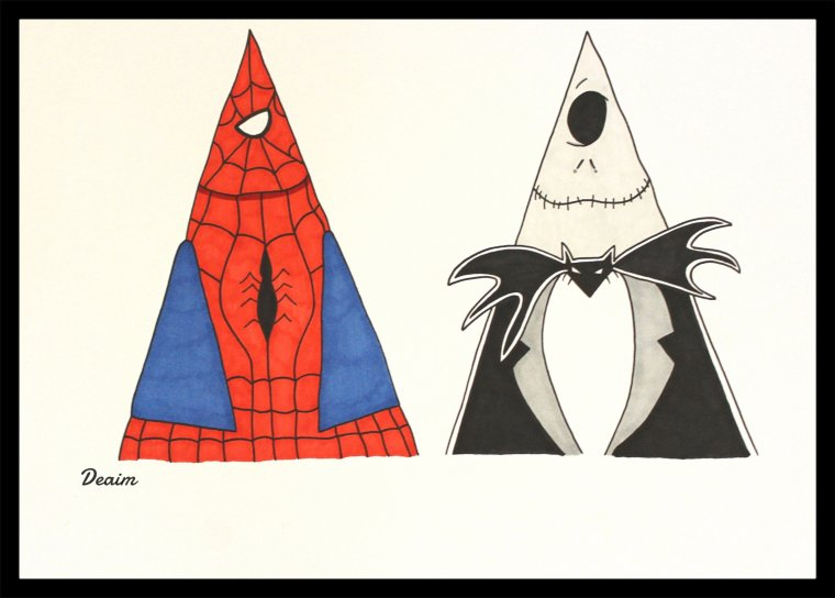 """Ordo-Illuminatee "" :  Spiderman and  Skellington Jack"