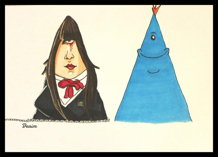 """""""Ordo-Illuminatee"""" :   Gogo Yubari and  Mr Meeseeks"""