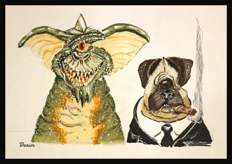 """Ordo-Illuminatee"" :   Gremlins Stripe and Frank the Pug"