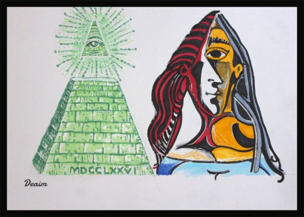 """Ordo-Illuminatee "" :  All-seeing eye of god (Dollar version) and Jacqueline"