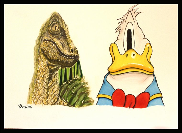 Ordo-Illuminatee :   Vélociraptor  and Donald Duck
