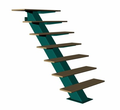 Escalier limon acier et marches bois metalowood - Escalier bois et acier ...
