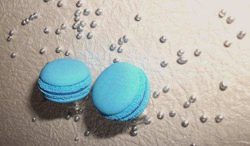 Boucles d'Oreilles clous Macarons bleus