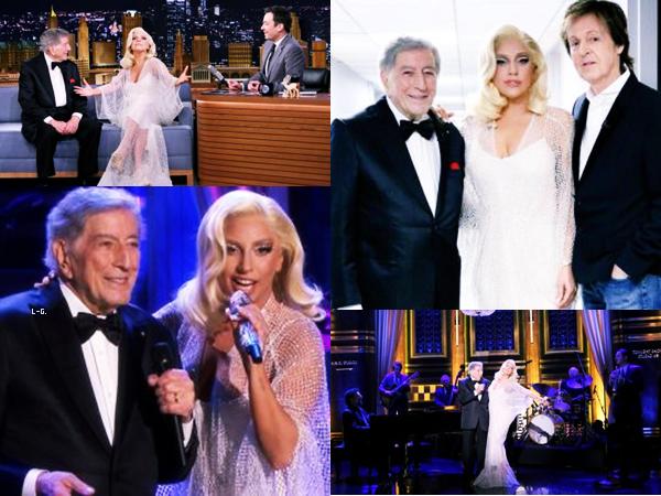 18/12/14   ▬ Lady Gaga toute belle,  était présente au Tonight Show de  « Jimmy Fallon » . C'est un Top!