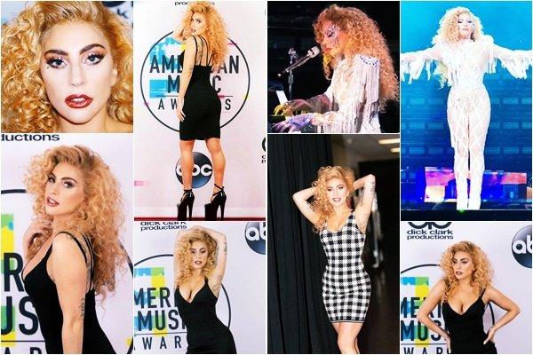 19/11/17   ▬ Lady Gaga était présente à la cérémonie des  « American Music Awards  » à Los Angeles. Elle reçoit le trophée de Meilleure artiste pop de l'année!