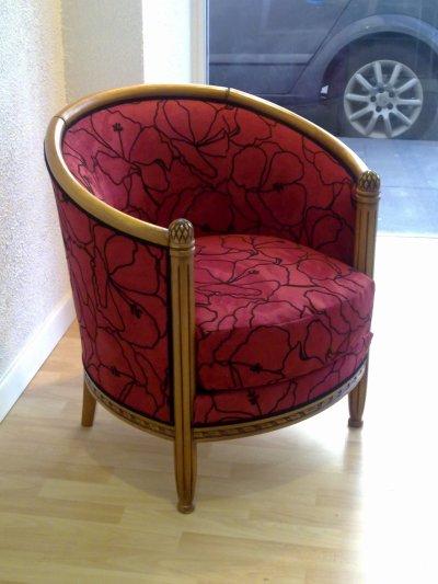 fauteuil tonneau en microfibre flock e blog de tapissierbrioude. Black Bedroom Furniture Sets. Home Design Ideas
