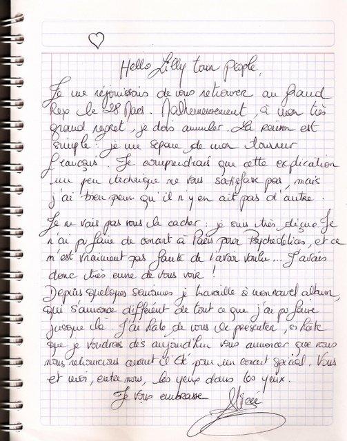 """Lettre d'Alizée / Association """"Coeur Des Anges"""""""