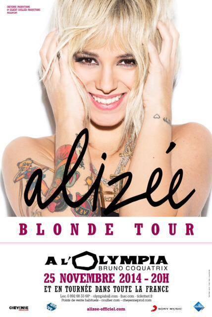Alizée en concert à l'Olympia et en tournée dans toute la France !