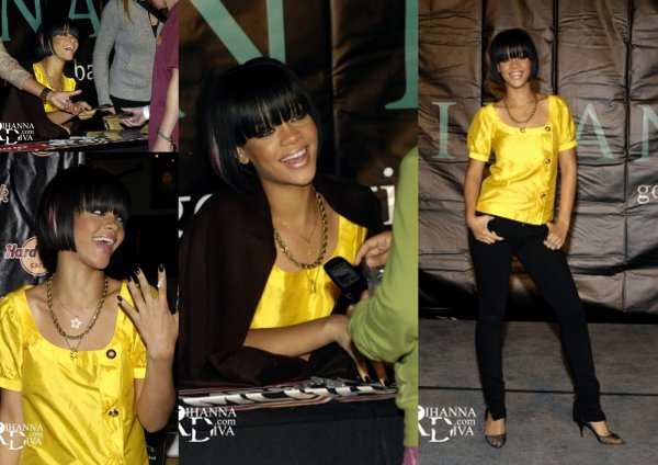 "08 Juin 2007 ~ Rihanna signe des copies de ""Good Girl Gone Bad"" au Hard Rock Cafe"