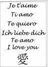 je t'aime en plusieur langue