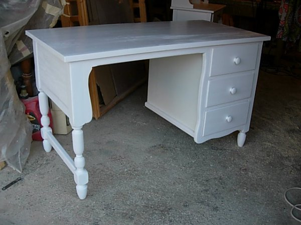 bureau rustique 3 tiroirs  laqué  blanc