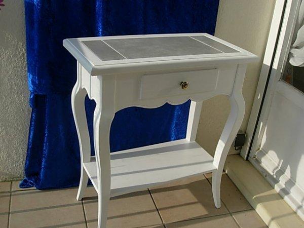 table console carrelée en hetre laqué blanc