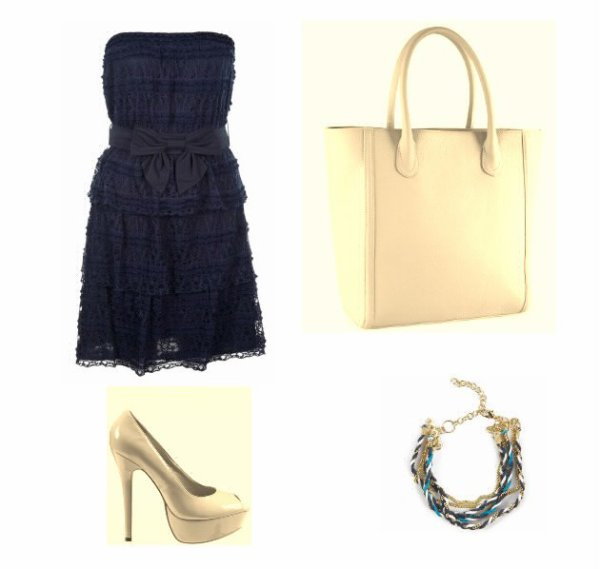 Tenue simple bleu & beige