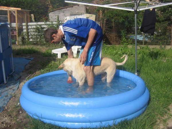 Chouette c'est l'été on m'a offert une piscine ... un peu petite pour moii