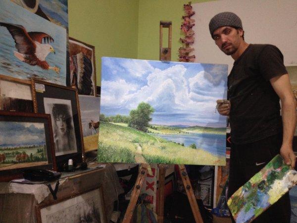 Mon atelier avec mon dernier tableau de nature