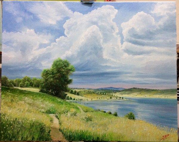 Le paysage avec peinture à lui le