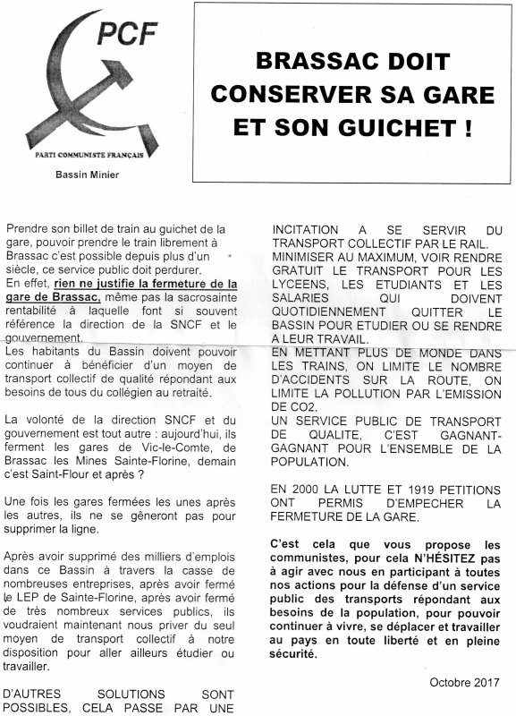 le PCF toujours en lutte contre la fermeture de la gare de Brassac les Mines.distribution de tract à 5 h du matin .