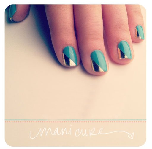 Tuto Nail Art – Feuilles d'or & Turquoise