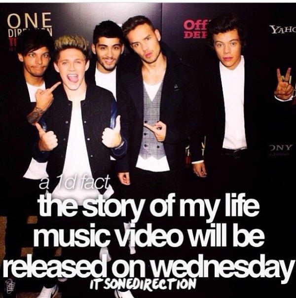 Mercredi le clip de Story of my life sort!!!