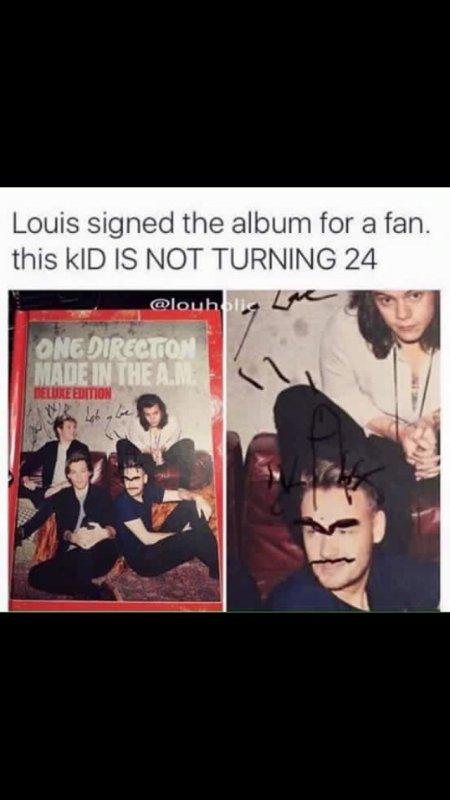 Louis a signé l'album d'une fan mdrr