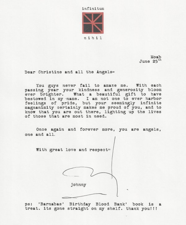 A NEW Johnny Depp's Letter for Johnny's Angels