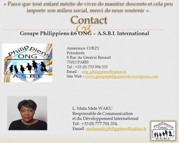 Groupe Philippiens 4 : 6 ONG A.S.B.L International