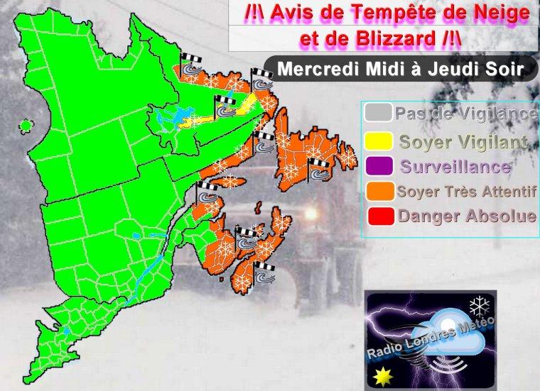 Alerte Météo sur l'Est du Québec !