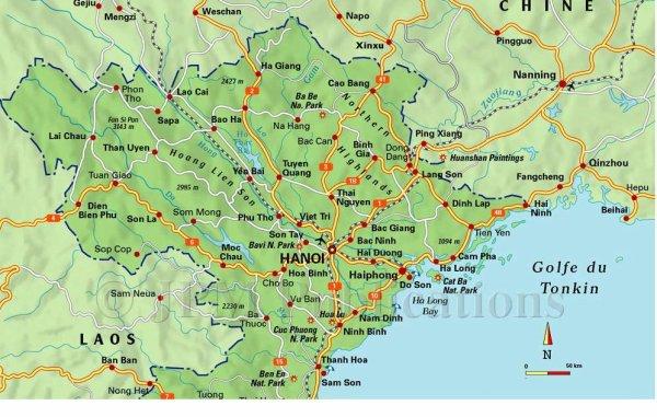 Carte détaillée du Nord Vietnam