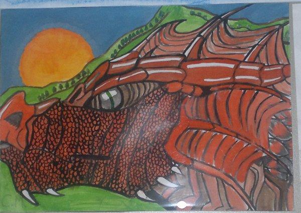 dragon fait avec de l'aquarelle