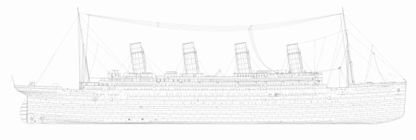 Plan de profile du Titanic.