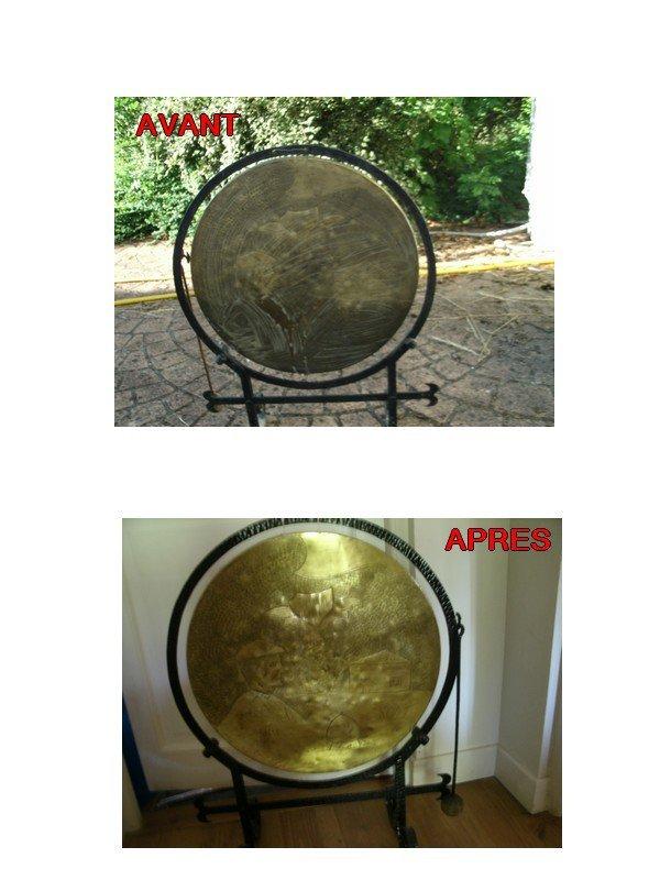 gong en cuivre rénové