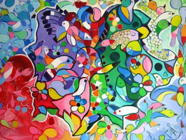 Peintre moderne le peintre de tahiti - Tableau de chat moderne ...