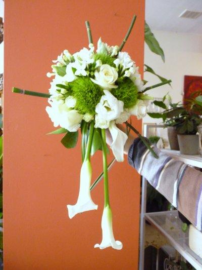 Bouquet de mariée avec structure bambou