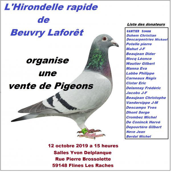Cet aprés midi vente de l'Hirondelle Rapide de Beuvry la Forêt