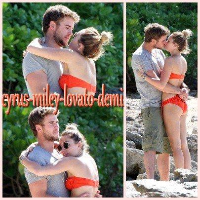 29.12.11 Miley Sur Une Plage D'hawaï
