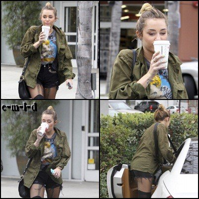 07.02.12 Miley S'arrête Au Starbucks , Hollywood