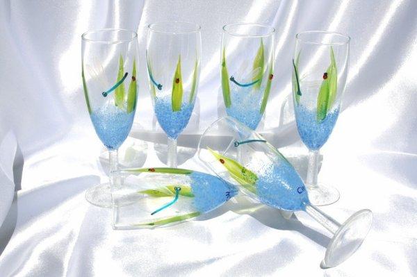 Flûtes à champagne 'LE BALLET DES LIBELLULES' peintes à la main