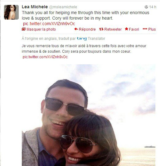 Lea Michele rend hommage a Cory Monteith.