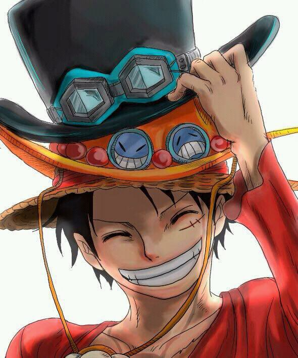 Luffy avec le chapeau de ace et de sabot