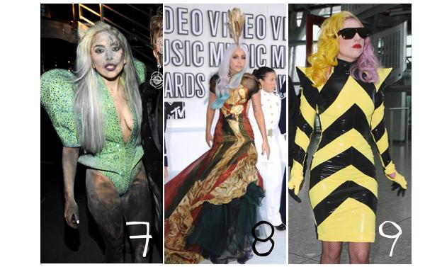 Lady Gaga et ses innombrable tenues! Mais il y en a certaine qu'on retiendrais comme originale... Un peu trop même... par lauranne