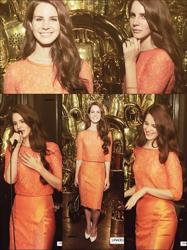 """04/05/2012 ▪ Lana a interprété une chanson au dinner du projet """"Frieze Art Inc"""" :"""