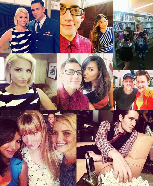 Le cast de Glee sur le set.