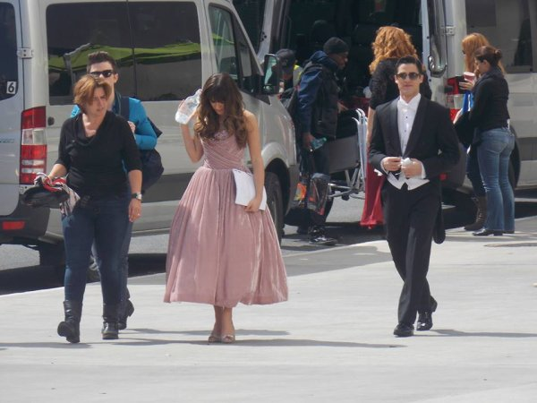 Darren , Lea & Chris sur le set de Glee