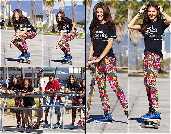 28 10 2012 zendaya apprenant comment faire du skate avec des amis a venise - Comment faire du skateboard ...