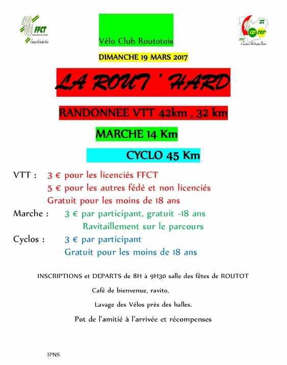 """Dimanche 19 mars """"La ROUT'HARD"""""""