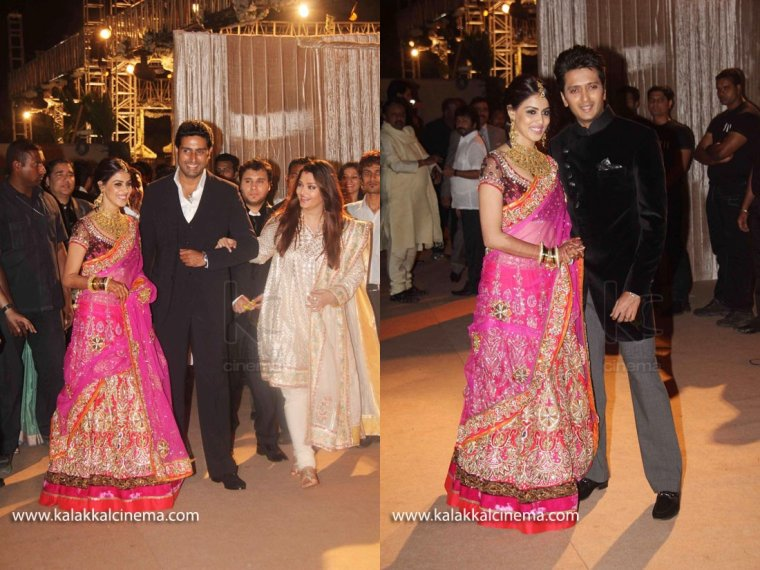 Genelia & Ritesh @  Riteish's Brother's Mariage & Reception (2)