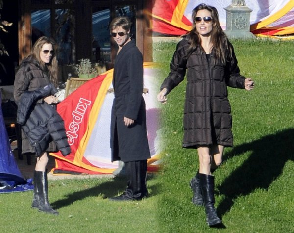 « 9 Octoble 2010, Angelina, Brad, Siloh et Zahara, ont été appercu dans leur jardin a Budapest.